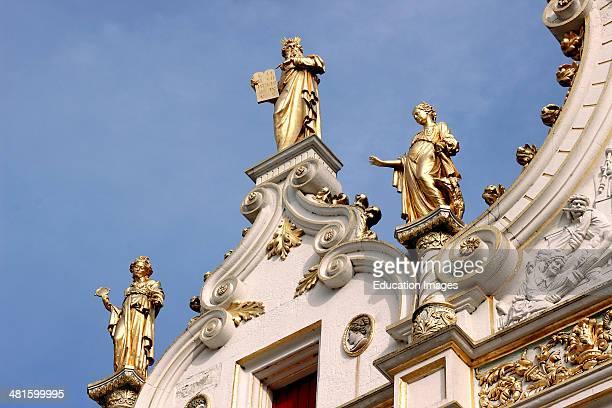 Bruges Belgium Flanders Europe Brugge Palace of Justice gilded statues Renaissance Hall.