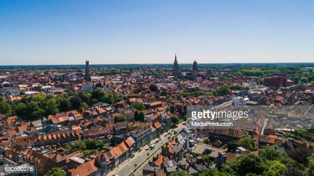 bruges - brugge in belgium aerial view - west flanders stock pictures, royalty-free photos & images