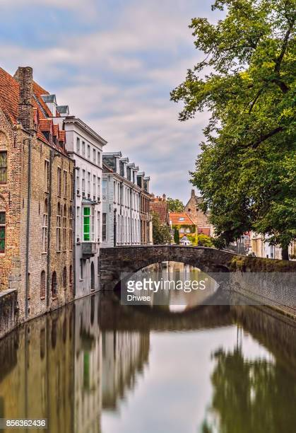 bruges canal in the morning - bruges stock pictures, royalty-free photos & images