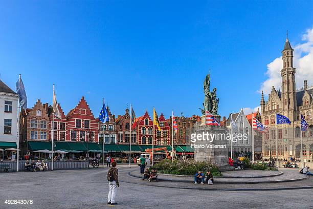 bruges - grote markt, belgium - bruges stock pictures, royalty-free photos & images