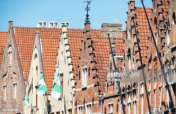 Bruges, Old town, facades of houses in Steenstraat