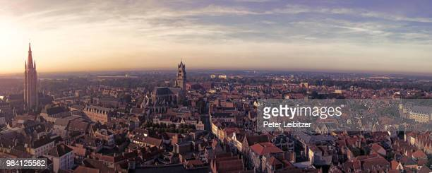 bruges panorama from belfry tower - west flanders stock pictures, royalty-free photos & images