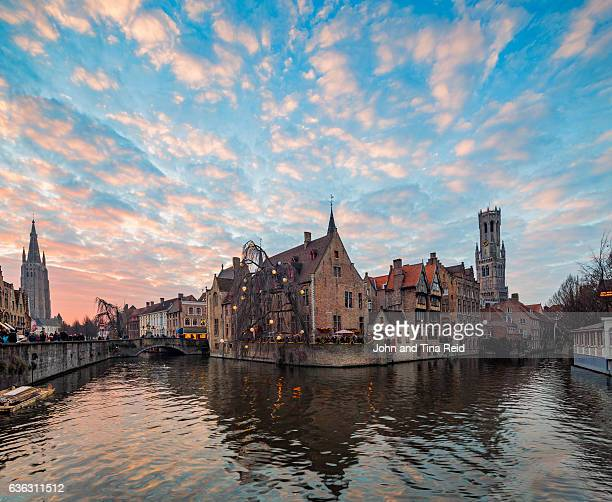 bruges sunset - bruges stock pictures, royalty-free photos & images