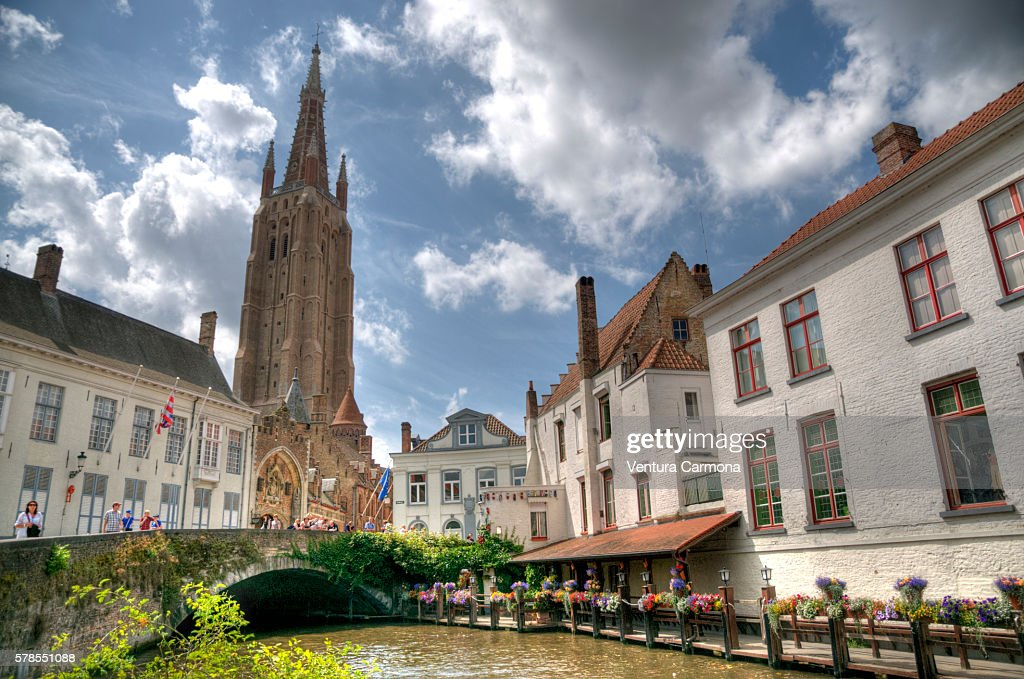 Bruges - The Tower of the Church of Our Lady. : Stock Photo