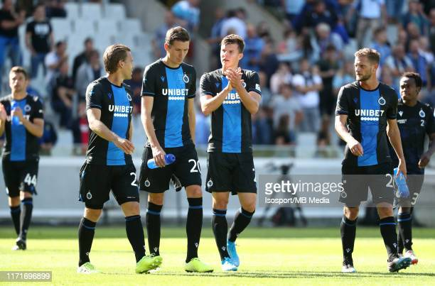Brugge players look dejected during the Jupiler Pro League match between Club Brugge KV and KRC Genk at Jan Breydel Stadium on September 1, 2019 in...