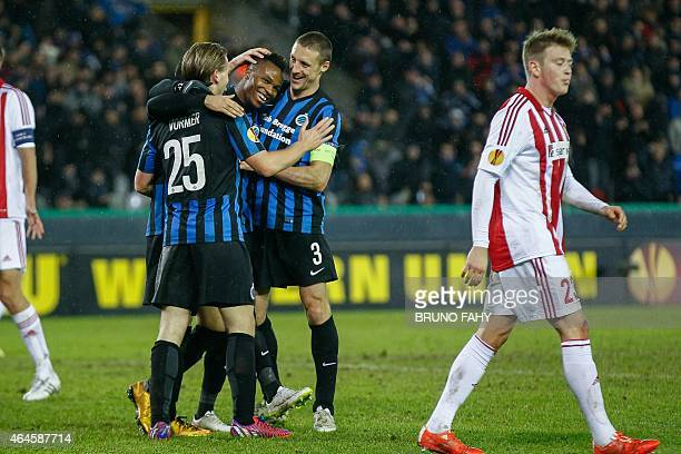 Brugge's Boli Bolingoli Mbombo celebrates with teammates after scoring a goal during the UEFA Europa League Club Brugge KV vs Aalborg BK football...