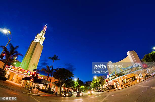 bruin and fox theaters at westwood village in los angeles - westwood neighborhood los angeles stock pictures, royalty-free photos & images