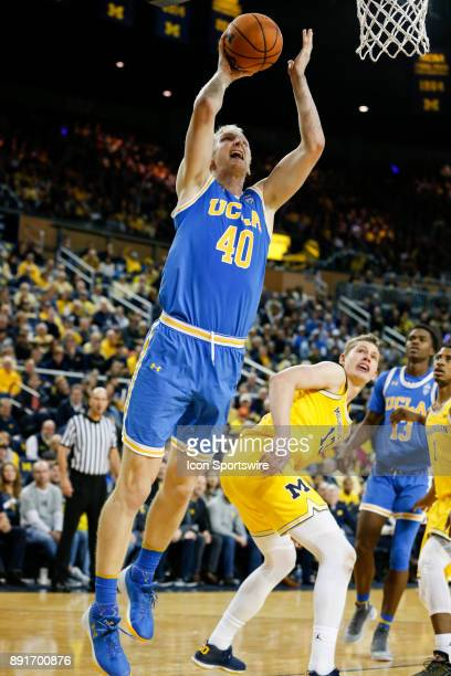 Bruins center Thomas Welsh puts up a shot during a regular season nonconference basketball game between the UCLA Bruins and the Michigan Wolverines...