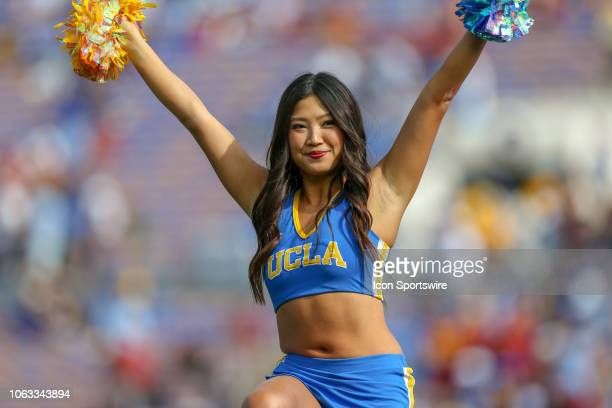 Bruins cheerleader during the USC Trojans game versus the UCLA Bruins on November 17 at the Rose Bowl in Pasadena CA