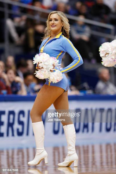 Bruins cheerleader performs during the first half of the First Four game in the 2018 NCAA Men's Basketball Tournament at UD Arena on March 13 2018 in...