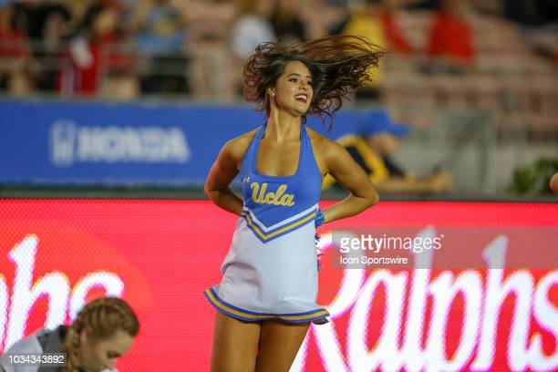 Bruins cheerleaders during a college football game between the Fresno State Bulldogs and the UCLA Bruins on September 15 2018 at the Rose Bowl in...