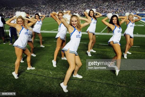 Bruins cheerleaders on the field during a game against the Colorado Buffaloes on September 30 played at the Rose Bowl in Pasadena CA