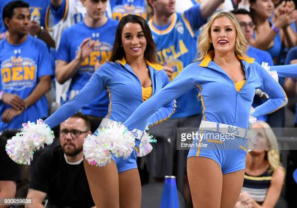 Bruins cheerleaders perform during a semifinal game of the Pac12 basketball tournament against the Arizona Wildcats at TMobile Arena on March 9 2018...
