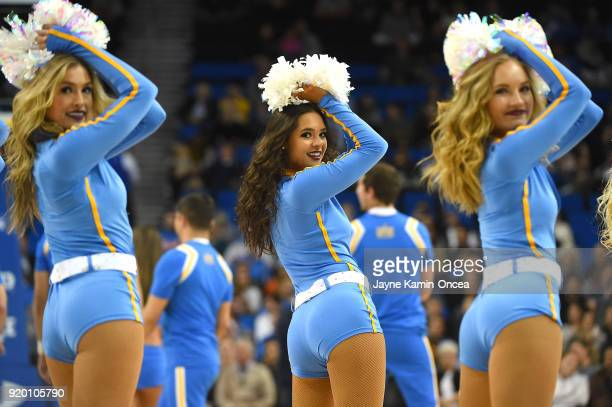 Bruins cheerleaders perform during the game against the Oregon State Beavers at Pauley Pavilion on February 15, 2018 in Los Angeles, California.