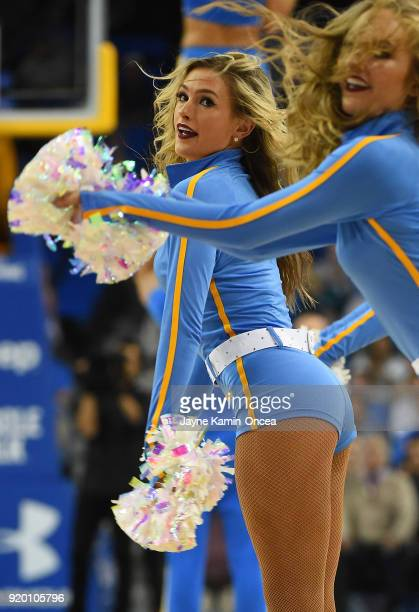 Bruins cheerleaders perform during the game against the Oregon State Beavers at Pauley Pavilion on February 15 2018 in Los Angeles California