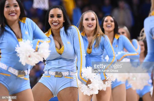 Bruins cheerleaders perform during the game against the Washington Huskies at Pauley Pavilion on March 1, 2017 in Los Angeles, California.