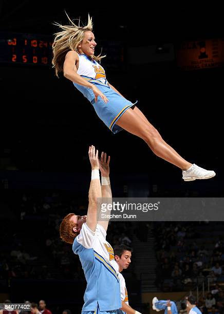 Bruins cheerleaders perform during the game with the Loyola Marymount Lions at Pauley Pavilion December 17 2008 in Westwood California UCLA won 7544