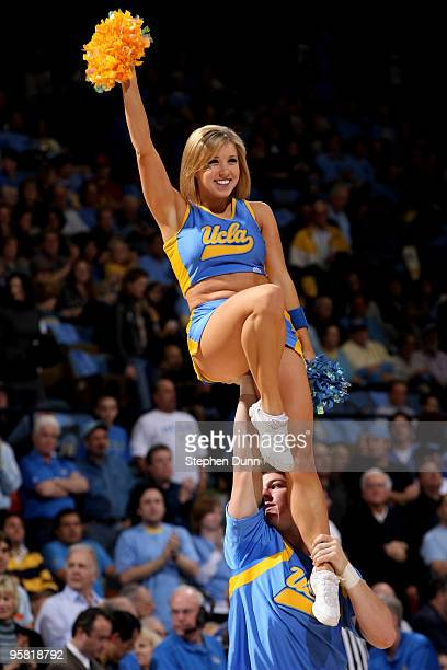 Bruins cheerleaders perform in the game against the USC Trojans on January 16 2010 at Pauley Pavillion in Westwood California USC won 6746
