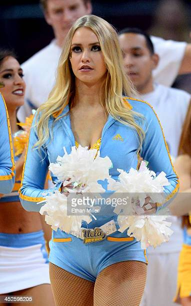 Bruins dance team member MaCall Manor performs during the team's game against the Northwestern Wildcats during the Continental Tire Las Vegas...