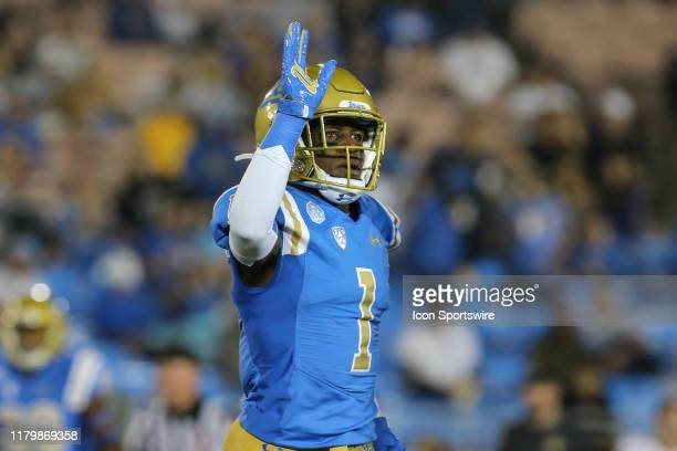 Bruins defensive back Darnay Holmes during the college football game between the Colorado Buffaloes and UCLA Bruins on November 02 at the Rose Bowl...