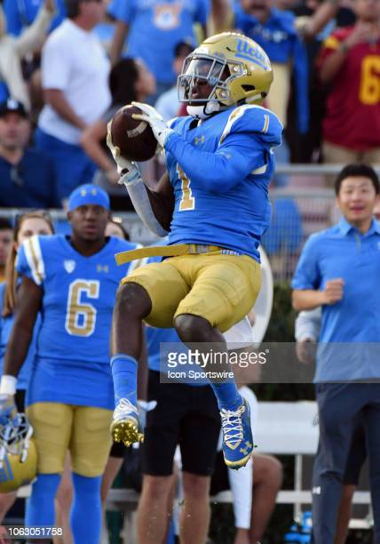 Bruins defensive back Darnay Holmes intercepts a pass in the second half of a game against the USC Trojans played on November 17 2018 at the Rose...