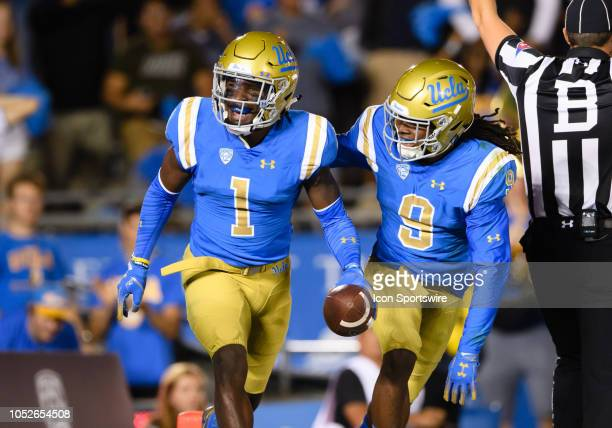 Bruins defensive back Darnay Holmes reacts after picking up a loose ball in the end zone during the game between Arizona and UCLA on October 20 at...