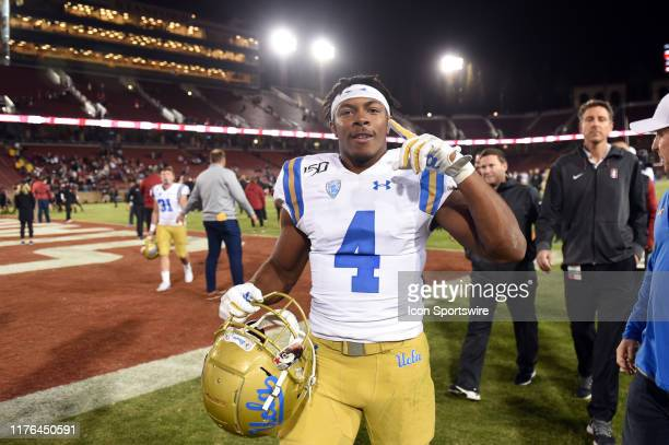Bruins defensive back Stephen Blaylock celebrates after the college football game between the UCLA Bruins and the Stanford Cardinal at Stanford...
