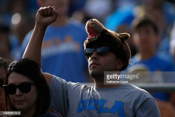 Bruins fan wears a bear hat 2during the first half of a football game at Rose Bowl on November 17 2018 in Pasadena California