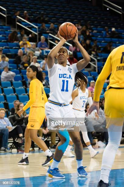 Bruins forward Lajahna Drummer takes a shot during the game between the Cal Berkeley Golden Bears and the UCLA Bruins on January 19 at Pauley...
