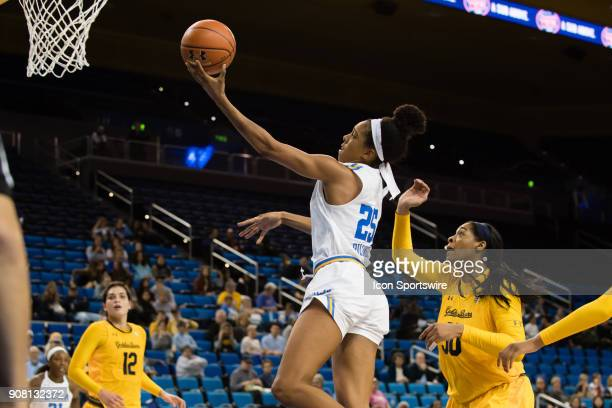 Bruins forward Monique Billings goes for a layup during the game between the Cal Berkeley Golden Bears and the UCLA Bruins on January 19 at Pauley...