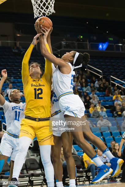 Bruins forward Monique Billings goes up for a rebound against California Golden Bears forward Penina Davidson during the game between the Cal...