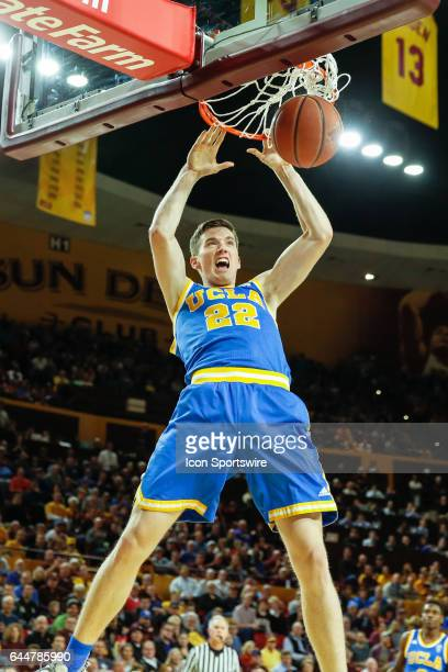 Bruins forward TJ Leaf dunks the ball during the college basketball game between the UCLA Bruins and the Arizona State Sun Devils on February 23 2017...