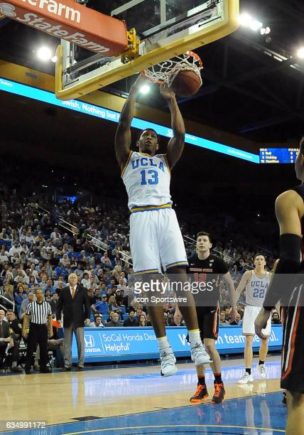 Bruins forward/center Ike Anigbogu dunks the ball in the first half of a game against the Oregon State Beavers on February 12 played at the Pauley...