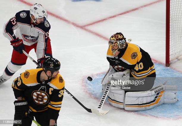 Bruins goalie Tuukka Rask makes a 2nd period save as Columbus Matt Duchene closes in The Boston Bruins host the Columbus Blue Jackets in Game 1 of...