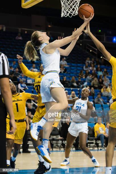 Bruins guard Chantel Horvat goes for a layup from under the basket during the game between the Cal Berkeley Golden Bears and the UCLA Bruins on...