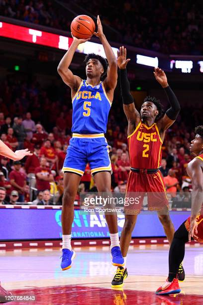 Bruins guard Chris Smith shoots a shot during the college basketball game between the UCLA Bruins and the USC Trojans on March 7 2020 at Galen Center...