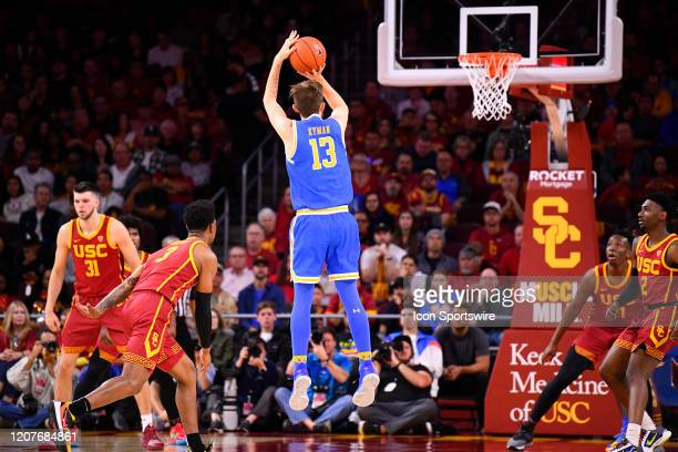 Bruins guard Jake Kyman shoots a shot during the college basketball game between the UCLA Bruins and the USC Trojans on March 7 2020 at Galen Center...