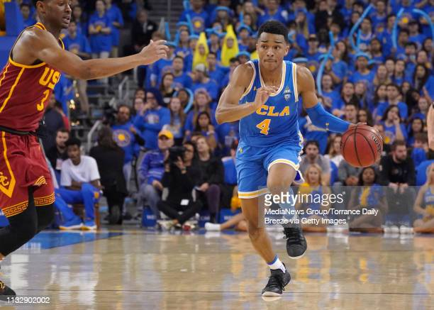 Bruins guard Jaylen Hands brings the ball up the court at Pauley Pavilion in Los Angeles on Thursday Feb 28 2019 UCLA won 9388 in overtime