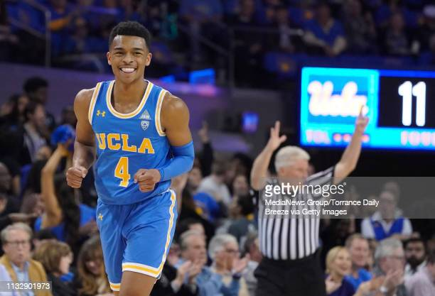 Bruins guard Jaylen Hands celebrates a 3pointer at Pauley Pavilion in Los Angeles on Thursday Feb 28 2019