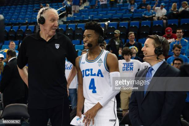 Bruins guard Jaylen Hands in a post game interview with Bill Walton after the game between the Detroit Mercy Titans and the UCLA Bruins on December...