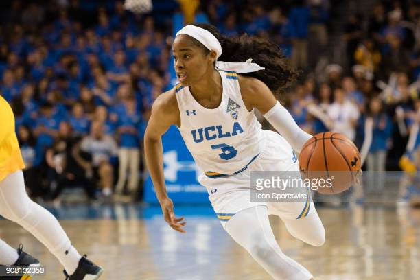 Bruins guard Jordin Canada drives the ball to the inside during the game between the Cal Berkeley Golden Bears and the UCLA Bruins on January 19 at...