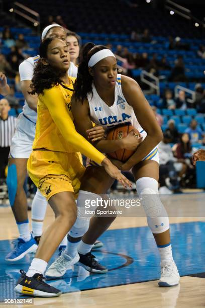 Bruins guard Kennedy Burke gets a rebound during the game between the Cal Berkeley Golden Bears and the UCLA Bruins on January 19 at Pauley Pavilion...