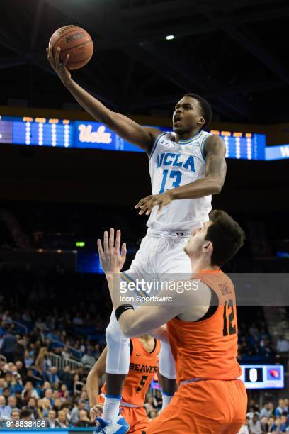 Bruins guard Kris Wilkes goes for a layup against Oregon State Beavers forward Drew Eubanks during the game between the Oregon State Beavers and the...