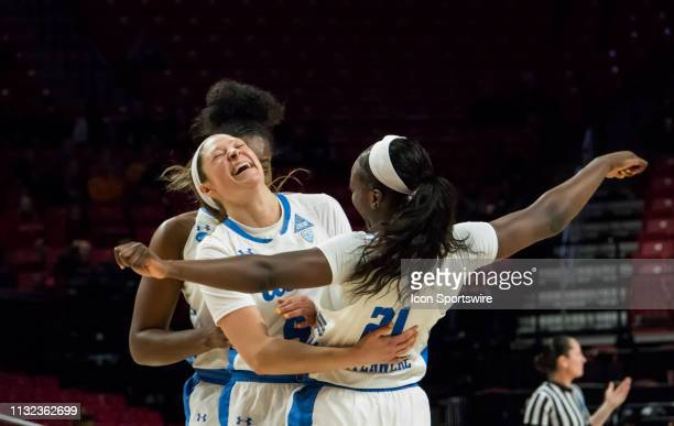 Bruins guard Lindsey Corsaro and forward Michaela Onyenwere celebrate during a NCAA Div 1 Women's championship first round game between the Tennessee...