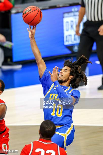 Bruins guard Tyger Campbell shoots during the first half of the mens college basketball game between the Ohio State Buckeyes and UCLA Bruins on...