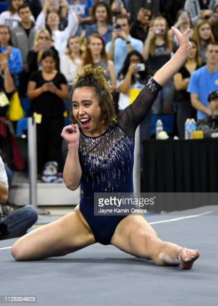 Bruins gymnast Katelyn Ohashi during her floor exercise routine where she scored perfect 10 in the meet against the Arizona Wildcats at Pauley...