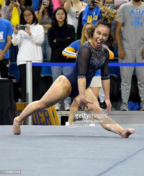 Bruins gymnast Katelyn Ohashi during her floor exercise routine where she scored a perfect 10 in the meet against the Arizona Wildcats at Pauley...