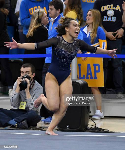 Bruins gymnast Katelyn Ohashi reacts after scoring a perfect 10 in her floor exercise routine in the meet against the Arizona Wildcats at Pauley...