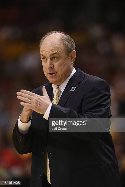 Bruins head coach Ben Howland calls for a time out against the Arizona State Sun Devils during the quarterfinals of the Pac 12 Basketball Tournament...