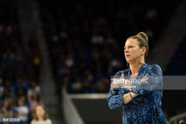 Bruins head coach Cori Close watches from the sidelines during the game between the Cal Berkeley Golden Bears and the UCLA Bruins on January 19 at...
